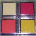Tampons encreurs jaune/orange/rouge