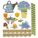 13 sujets bois peint papillon arrosoir
