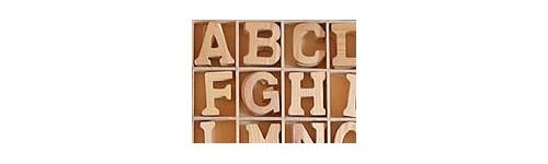 Lettres et chiffres en bois
